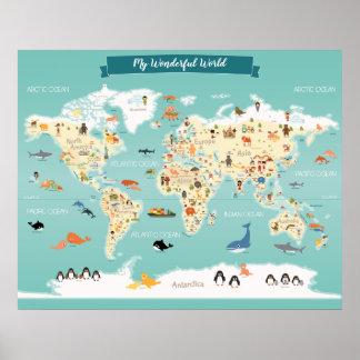 Poster Carte du monde d'enfants avec des illustrations