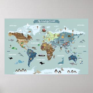 Poster Carte du monde d'enfants avec les illustrations