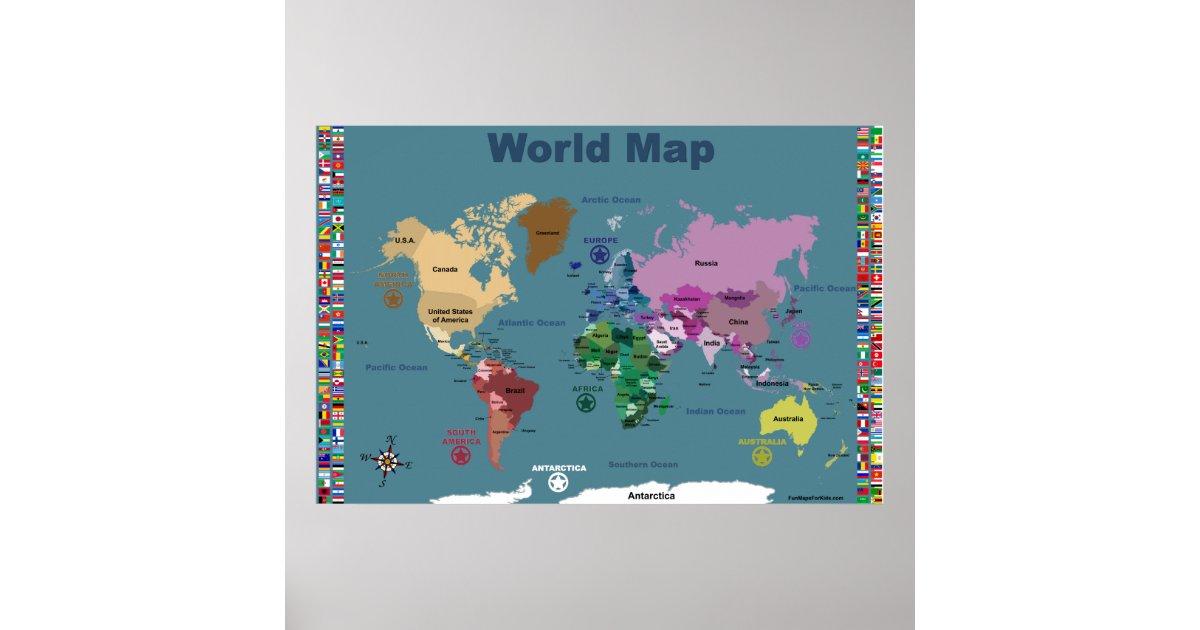 Poster carte du monde pour des enfants bleu avec des - Poster carte du monde ikea ...