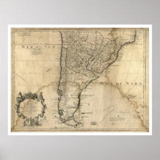 Poster Carte du Paraguay et du piment, Amérique du Sud