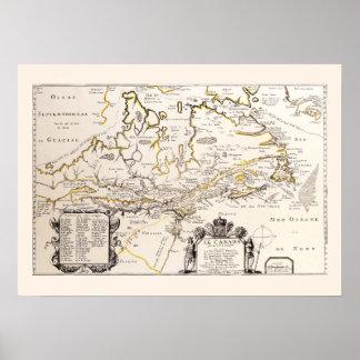 Poster Carte Française Canada (Québec) par Champlain 1677