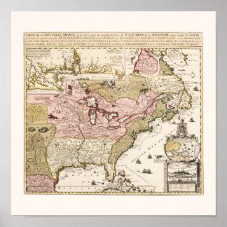 Poster Carte française médiévale Amérique du Québec/de