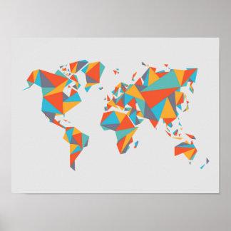 Poster Carte géométrique abstraite du monde