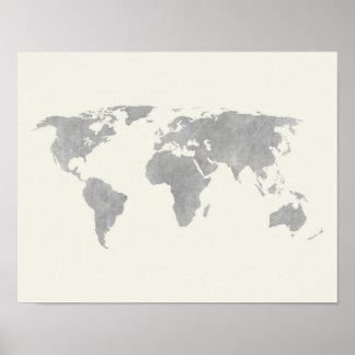 Poster Carte grise du monde sur l'arrière - plan de toile