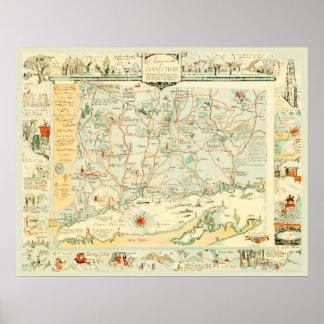 Poster Carte historique du Connecticut à partir de 1926