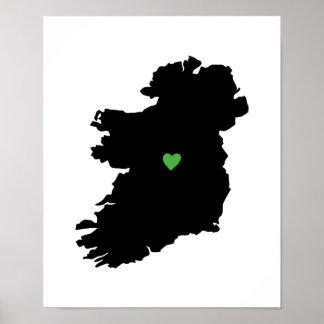 Poster Carte irlandaise de coeur de fierté d'affiche de