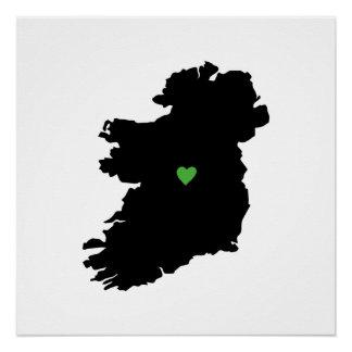 Poster Carte irlandaise de coeur de fierté de l'Irlande