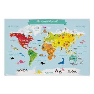 Poster Carte lumineuse du monde d'enfants avec des