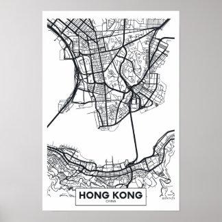 Poster Carte noire et blanche de ville de Hong Kong,