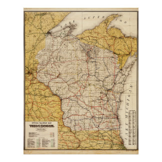 Poster Carte officielle de chemin de fer du Wisconsin