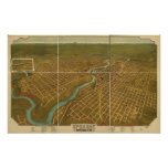 Poster Carte panoramique antique de Spokane Washington