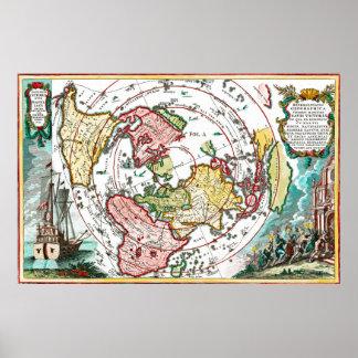 Poster Carte plate de la terre de voyage de Magellan