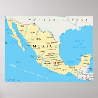 Poster Carte politique du Mexique