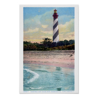 Poster Carte postale vintage de phare d'Anastasia