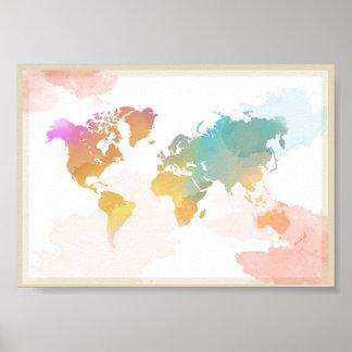 Poster Carte pour aquarelle du monde