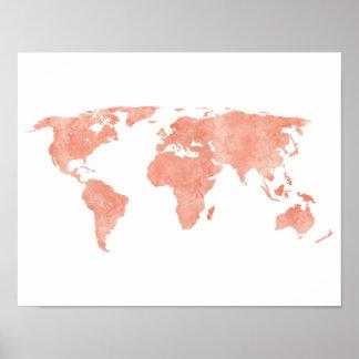 Poster Carte rose du monde d'aquarelle de désert