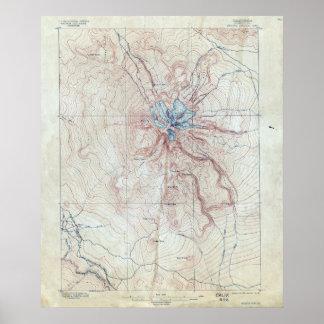 Poster Carte topographique de Shasta de bâti vintage