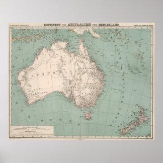 Poster Carte topographique vintage de l'Australie (1868)