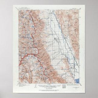 Poster Carte topographique vintage du Mont Whitney la