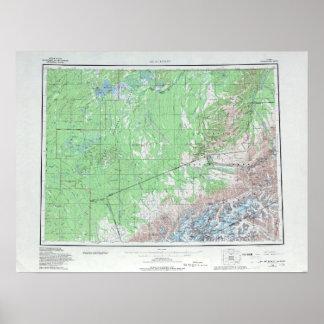 Poster Carte topographique vintage le mont McKinley