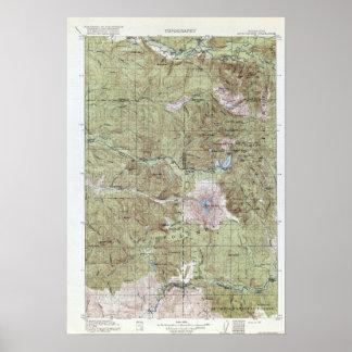 Poster Carte topographique vintage le Mont Saint Helens