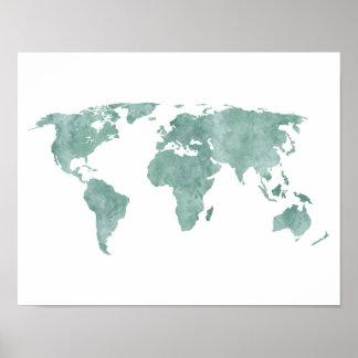 Poster Carte verte en bon état du monde d'aquarelle de