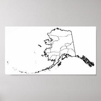 Poster Carte vide d'ensemble de villes de l'Alaska
