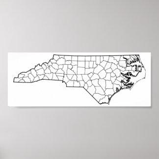 Poster Carte vide d'ensemble des comtés de la Caroline du