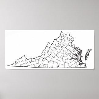 Poster Carte vide d'ensemble des comtés de la Virginie