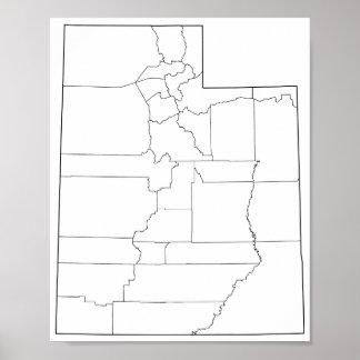 Poster Carte vide d'ensemble des comtés de l'Utah