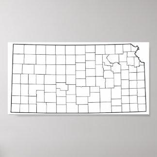 Poster Carte vide d'ensemble des comtés du Kansas