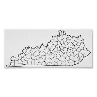 Poster Carte vide d'ensemble des comtés du Kentucky