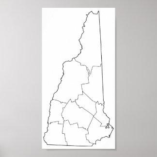 Poster Carte vide d'ensemble des comtés du New Hampshire