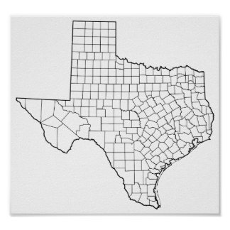 Poster Carte vide d'ensemble des comtés du Texas