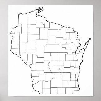 Poster Carte vide d'ensemble des comtés du Wisconsin