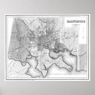 Poster Carte vintage de Baltimore le Maryland (1838) BW