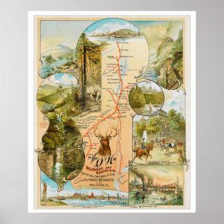 Poster Carte vintage de chemin de fer du Delaware et du