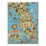 Poster Carte vintage de la Floride