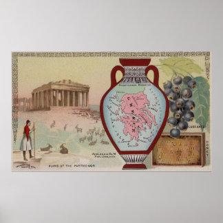Poster Carte vintage de la Grèce avec les illustrations