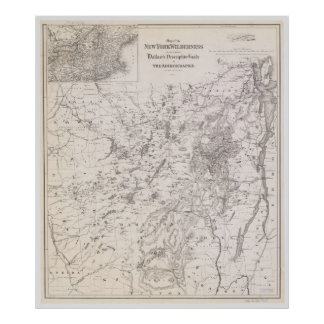 Poster Carte vintage de l'Adirondacks New York