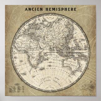 Poster Carte vintage de l'Europe et de l'Asie