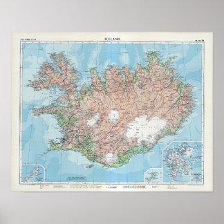 Poster Carte vintage de l'Islande