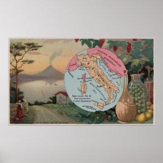 Poster Carte vintage de l'Italie avec les illustrations