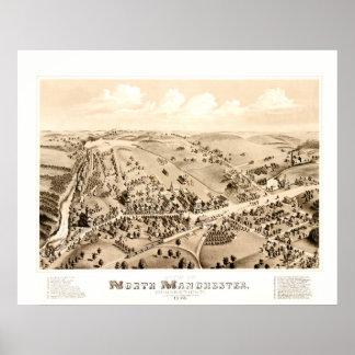 Poster Carte vintage de Manchester, CT en 1880