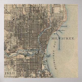Poster Carte vintage de Milwaukee le Wisconsin (1899)