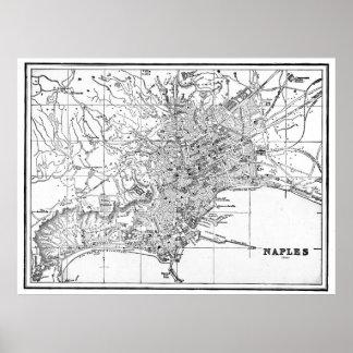 Poster Carte vintage de Naples Italie (1901) BW