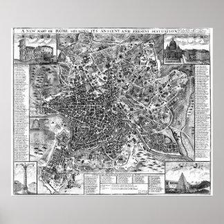 Poster Carte vintage de Rome Italie (1721) BW