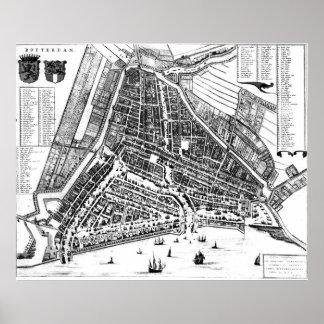 Poster Carte vintage de Rotterdam Pays-Bas (1649) 2 BW