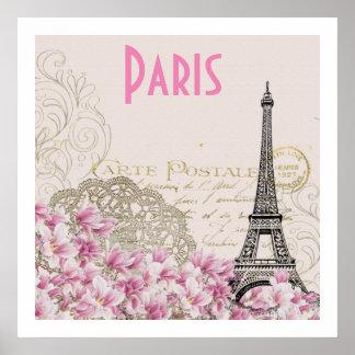 Poster Carte vintage de Tour Eiffel de PARIS |