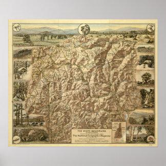 Poster Carte vintage des montagnes blanches New Hampshire